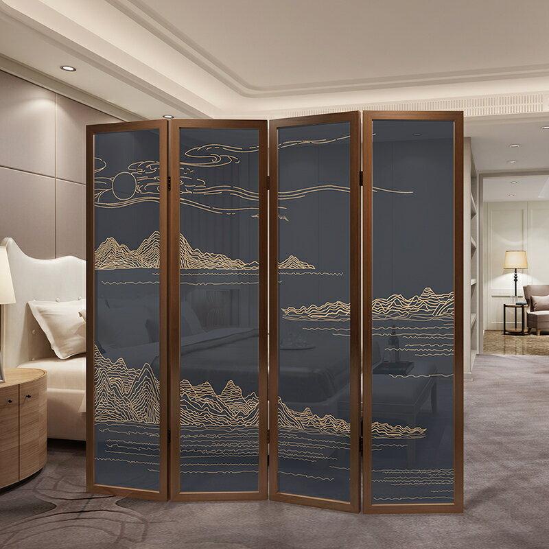 免運快出 現代新中式創意實木玄關客廳臥室辦公酒店可行動屏風隔斷摺疊屏風xw 夏季狂歡爆款