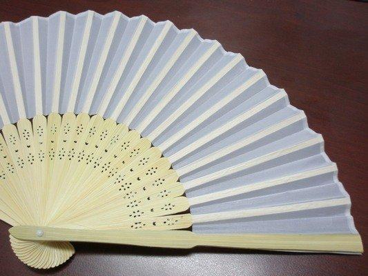 8英吋白色絹布 空白扇子 彩繪扇子 20.5cm / 一支入 { 定30 }  手繪扇(日本扇子.小摺竹片單面絹布)~5155 1