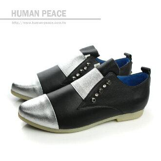 HUMAN PEACE 皮革 舒適 鉚釘 好穿脫 戶外休閒鞋 黑色 女鞋 no314