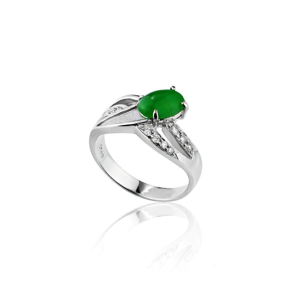 大東山珠寶 星星奇蹟 天然緬甸正陽綠A貨翡翠 頂級真鑽18K白金戒 1