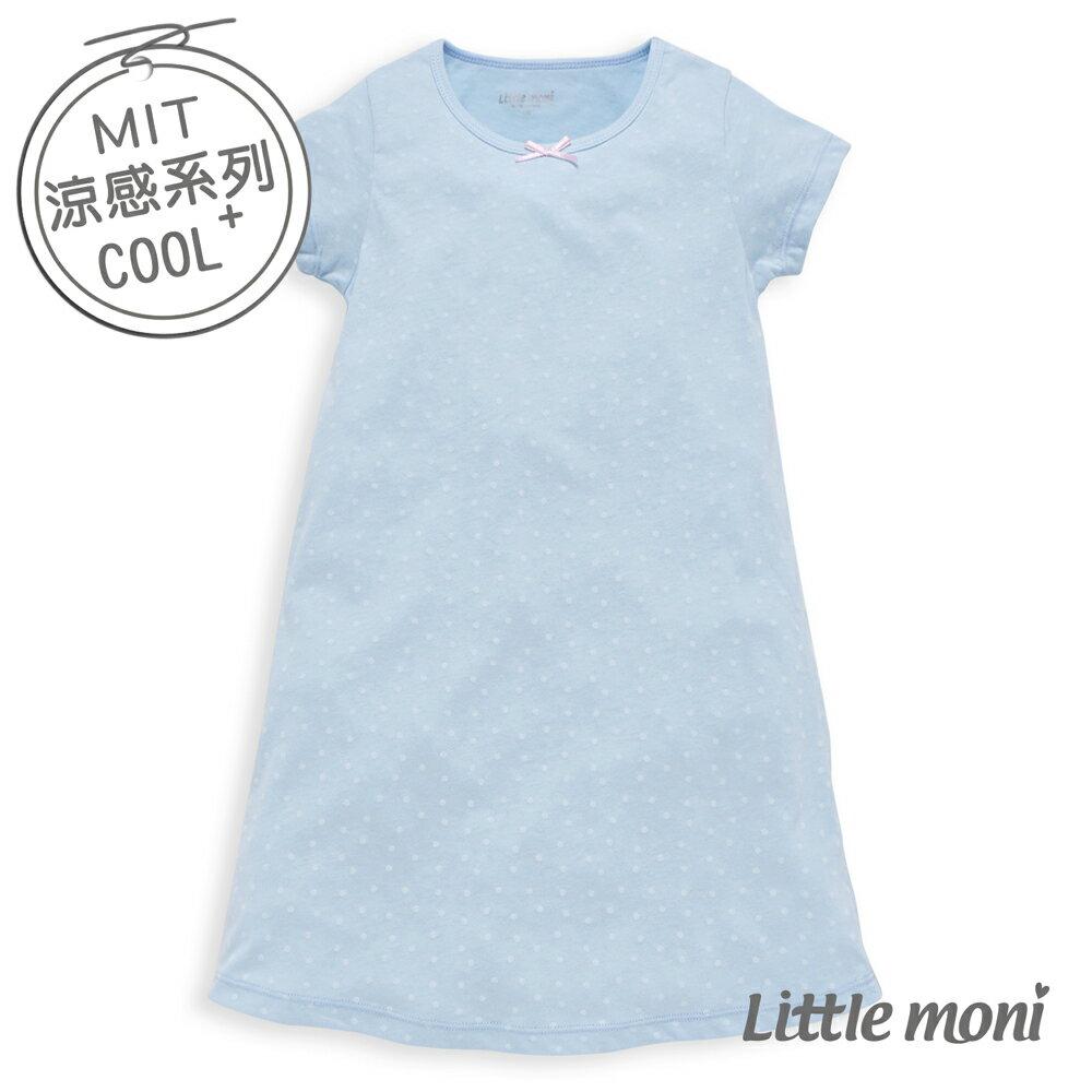 Little moni 涼感系列點點印圖兒童睡衣洋裝-亮天藍(好窩生活節) - 限時優惠好康折扣