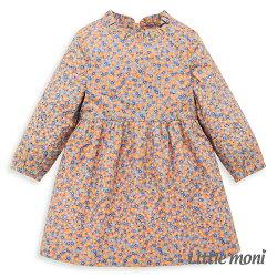 Little moni 荷葉微立領碎花洋裝-粉紅