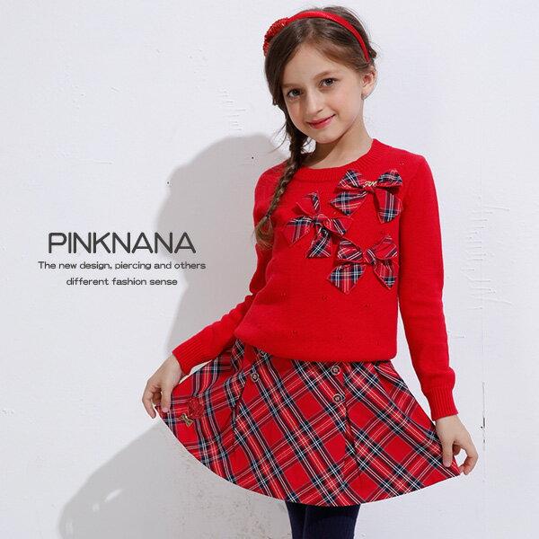 PINKNANA童裝 女童紅色格紋蝴蝶結針織毛衣上衣32107