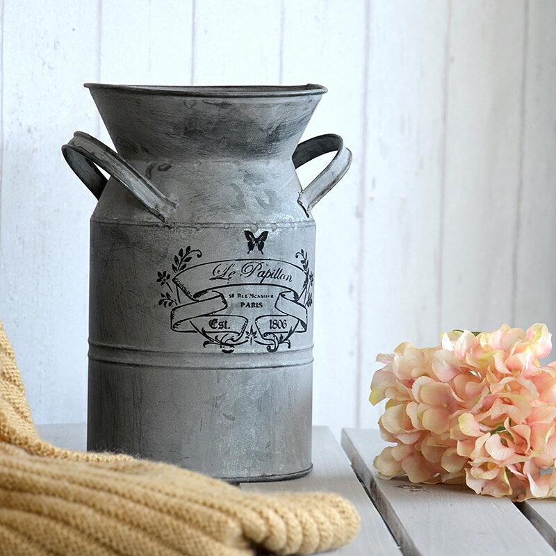 復古鐵皮桶鐵藝鮮花桶 干花花瓶鐵桶花盆美式鄉村做舊干花裝飾盆1入