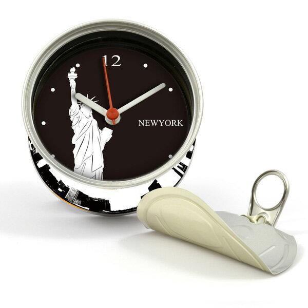 打開罐頭是時鐘 自由女神 罐頭造形 磁鐵時鐘 也可立於桌上