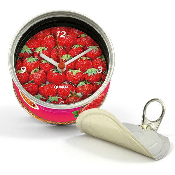 打開罐頭是時鐘 草莓 罐頭造形 磁鐵時鐘 也可立於桌上