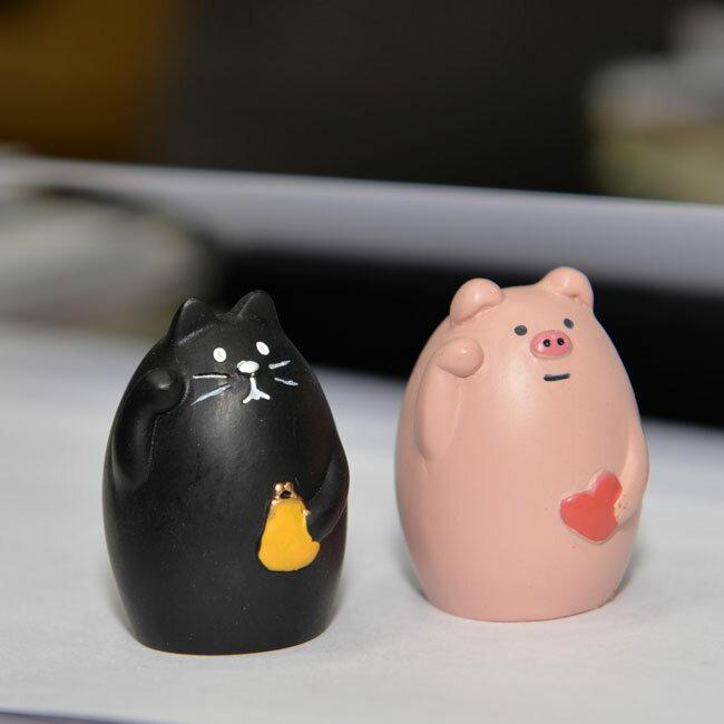 日本concombre 療癒系裝飾小動物 招福的黑貓與小豬可選 日本帶回