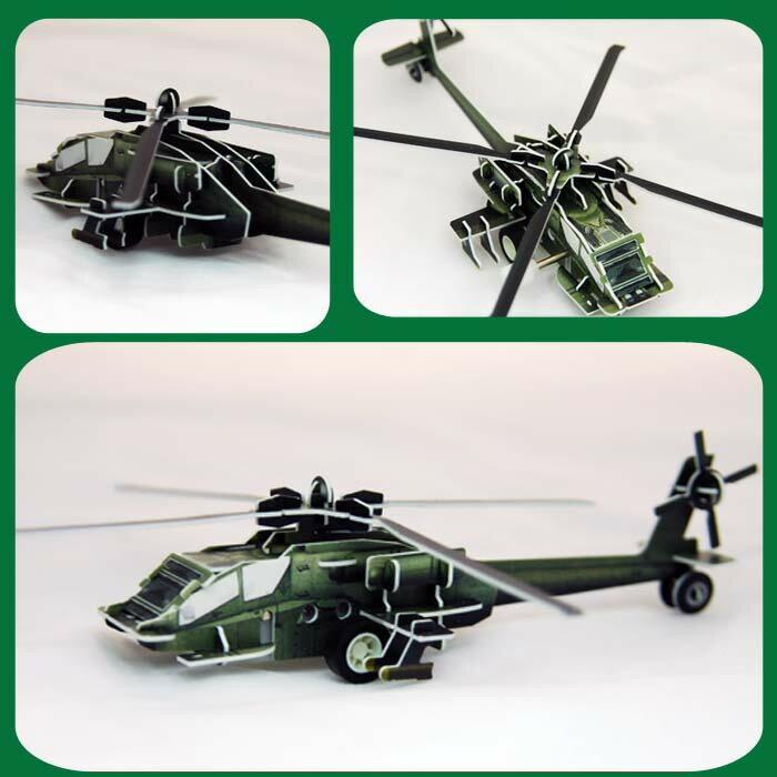 攻擊直升機 可動發條式 3D立體拼圖玩具 益智 教育 美勞