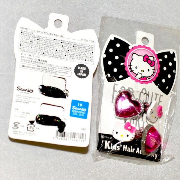 HelloKitty髮束髮圈粉紫心形日本製正版商品