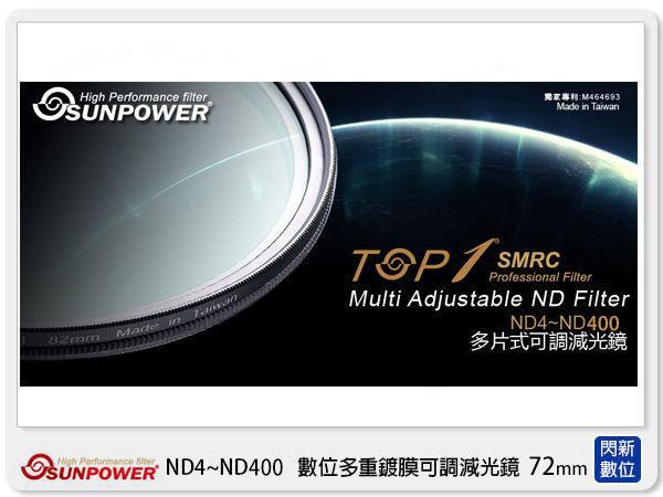送大嘴猴濾鏡包~ SUNPOWER TOP1 SMRC ND4~ND400 72mm 可調減光鏡 (72,湧蓮公司貨)【分期0利率,免運費】