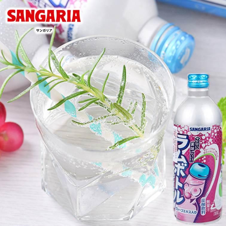 【SANGARIA】隨手罐飲料碳酸汽水-葡萄風味 500ml サンガリア グレープラム ボトル 日本進口飲料