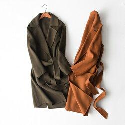★毛呢外套羊毛大衣-直筒綁帶顯瘦設計女外套2色73op29【獨家進口】【米蘭精品】