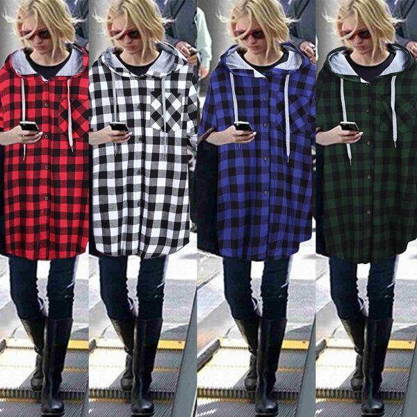 (春暖花開)個性格子風格休閒長版寬鬆外套預購七天