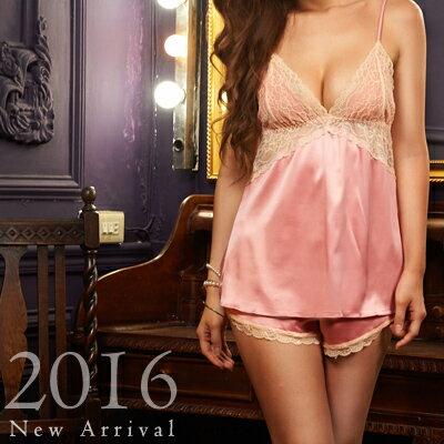 歐款睡衣-超軟撞色蕾絲緞布睡衣+睡褲-蜜桃洋房(兩件組)