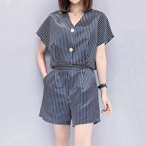 韓版兩件套V領上衣+條紋短褲套裝(藏青色S~2XL)*ORead*