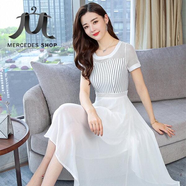《全店75折》氣質條紋連身裙修身顯瘦雪紡短袖洋裝(M-2XL,2色)-梅西蒂絲(現貨+預購)