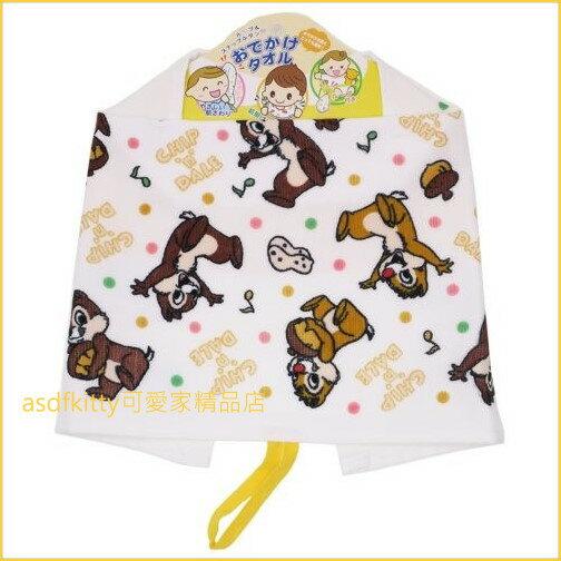 asdfkitty可愛家☆迪士尼奇奇蒂蒂多功能毛巾-手帕擦手巾嬰兒圍兜口水巾-47*25公分-日本正版商品