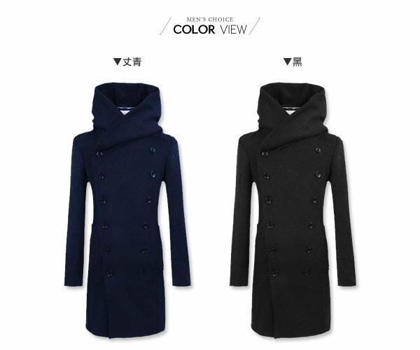 ☆BOY-2☆【NZ78014】長大衣韓風簡約毛呢素面雙排扣 2