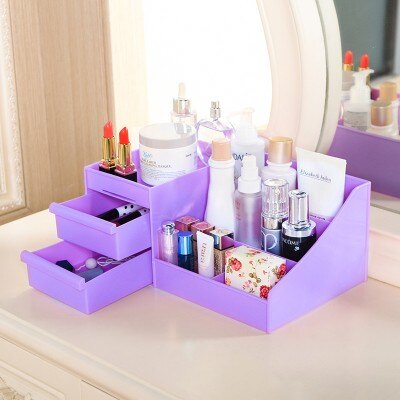 美麗大街【BF189E23】 塑料桌面抽屜式簡約桌面置物架 整理盒 化妝品收納盒 (大號)