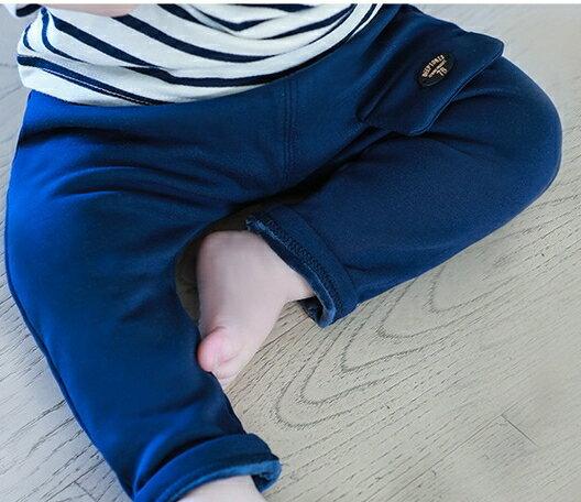 Lemonkid:Lemonkid◆秋冬時尚簡約口袋設計內毛絨舒適保暖兒童哈倫褲休閒褲-藏青