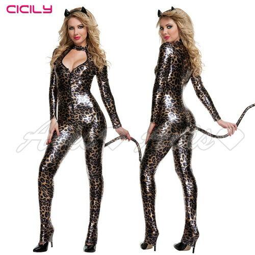 虐戀精品CICILY-豹紋印記-豹紋深V美胸塗膠仿皮 性感彈力連體 緊身膠衣