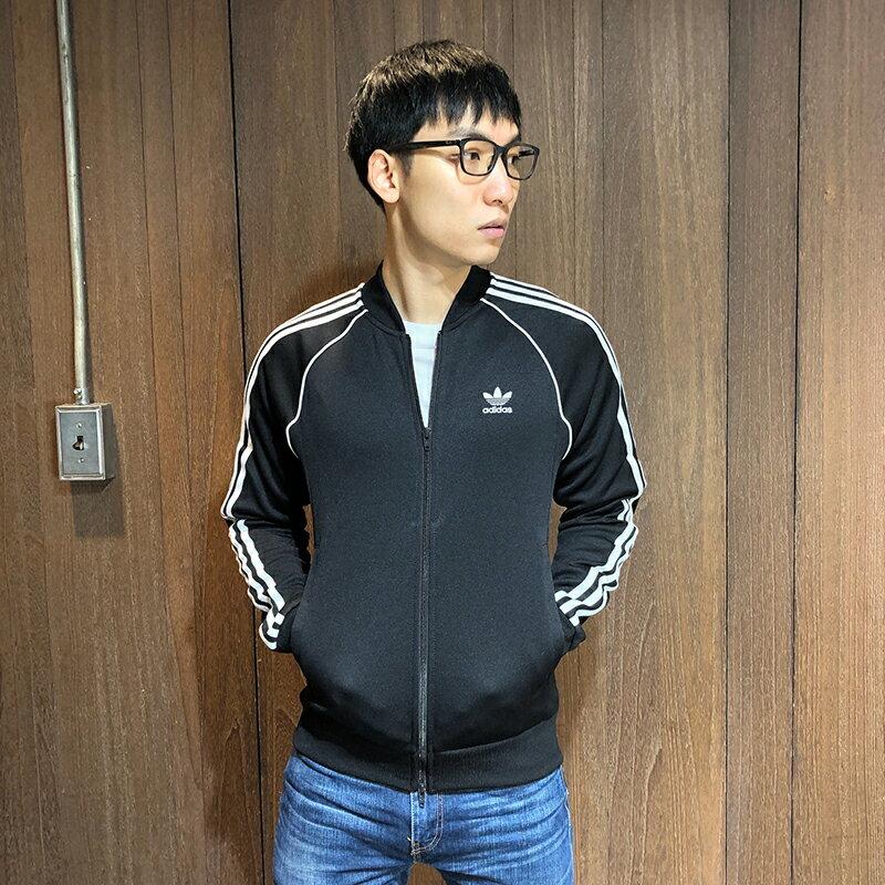 美國百分百【全新真品】Adidas 愛迪達 三葉草 經典 棒球外套 立領 夾克 logo 男 黑色 S號 BD90