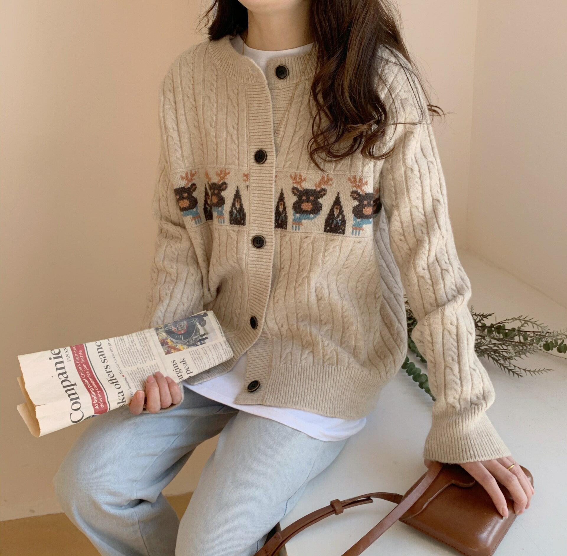 110110麋鹿刺繡提花圓領單排扣長袖毛衣外套女針織衫開衫上衣潮