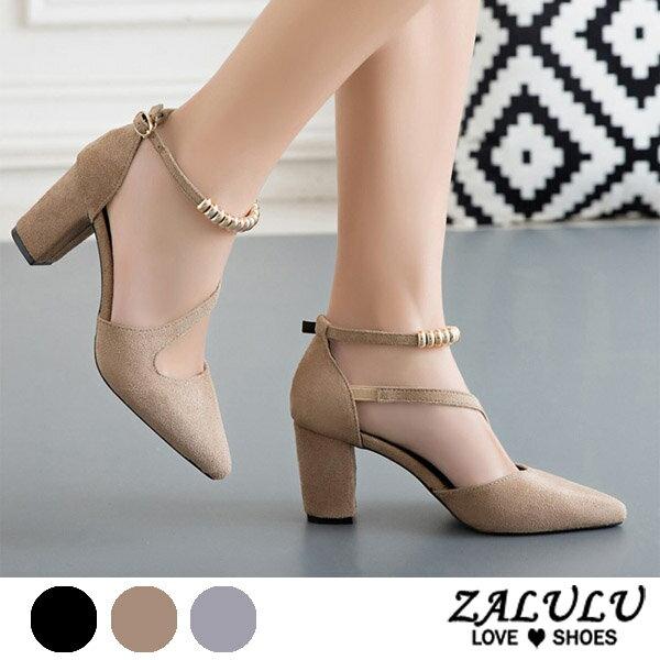 ZALULU愛鞋館7CE025預購美型性感名媛款高跟鞋-卡其灰黑-35-39