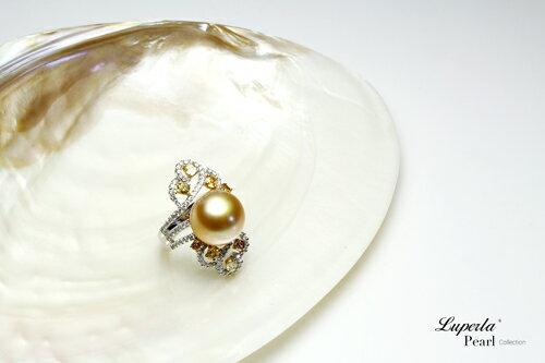 大東山珠寶 燦爛月光 頂級真鑽18K白金南洋金珍珠戒指 2