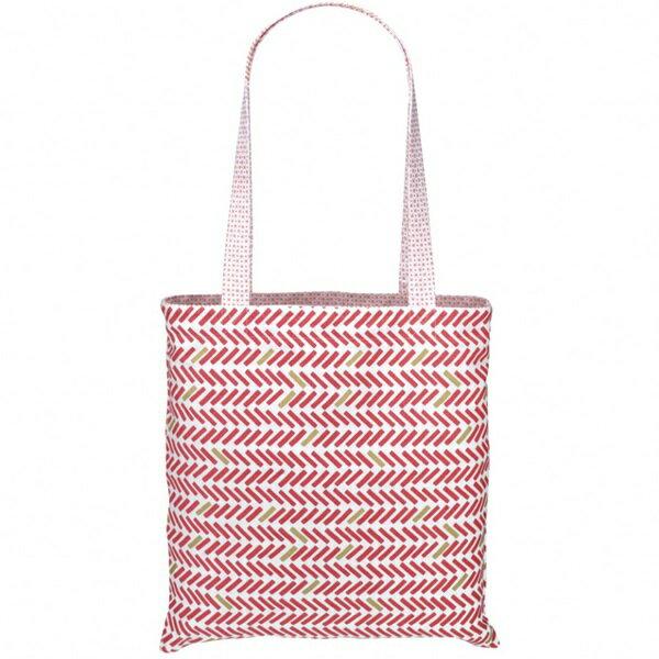 《法國 La Cocotte Paris》巴黎小散步雙面托特包/購物袋Vichy rose Cocotte / Chevron rouge 1