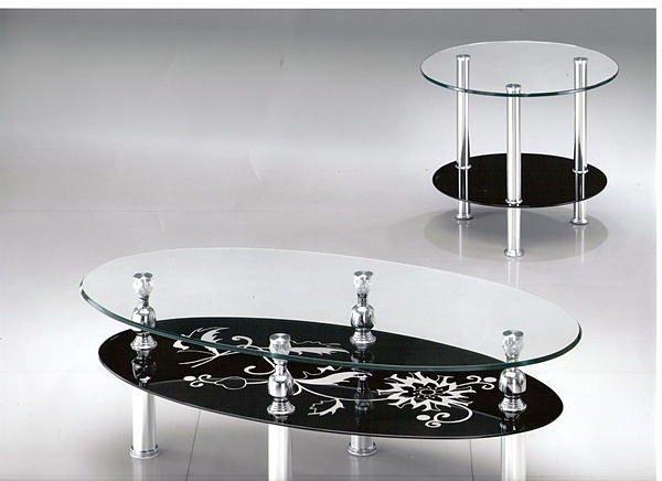 【尚品傢俱】602-18 橢圓造型10mm強化玻璃茶几組~台中市部分地區免運費