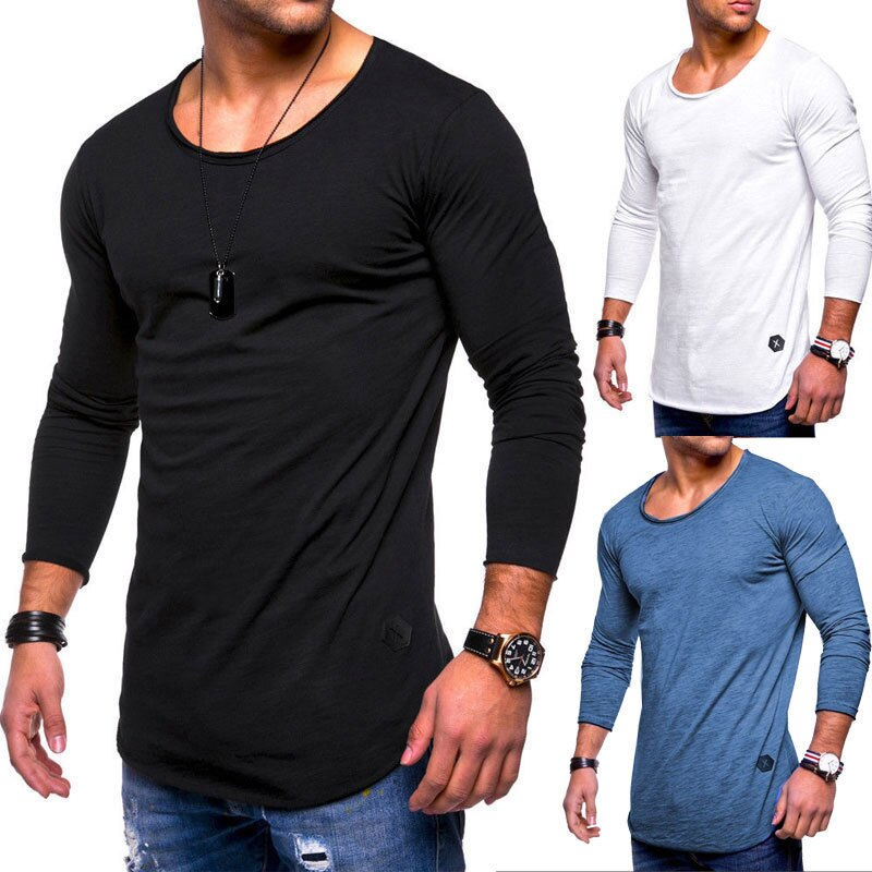 Fashion Men s Slim O Neck Long Sleeve Muscle Tee T-shirt Casual Fit Tops  Blouse 7320807ca018
