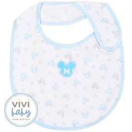 ViViBaby - Disney迪士尼米奇圖騰圍兜 (藍) 0