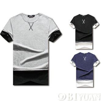 短袖上衣大學T【F50208】OBI YUAN 韓版特殊車縫雙色拼接短袖T恤共3色