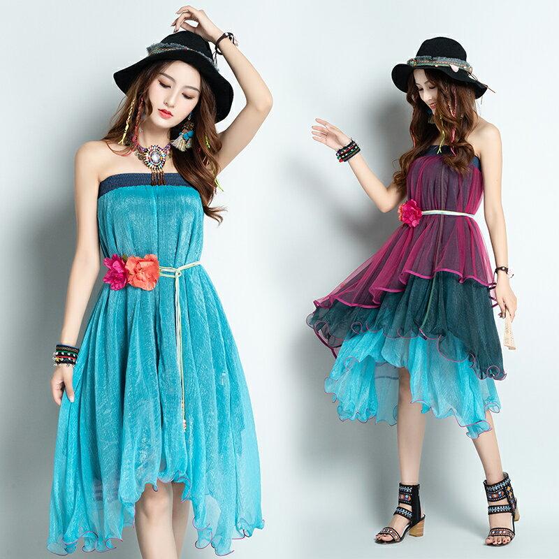 夏季新款民族風雪紡復古網紗不規則半身裙裹胸連衣裙兩種穿法1入