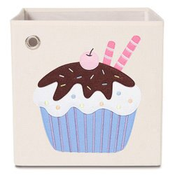 (1800折200)美國【KAIKAI & ASH】甜點系列收納箱- 櫻桃可可杯子蛋糕 摺疊收納箱 玩具收納箱 / 整理箱 / 設計風 / 棉麻 / 不織布