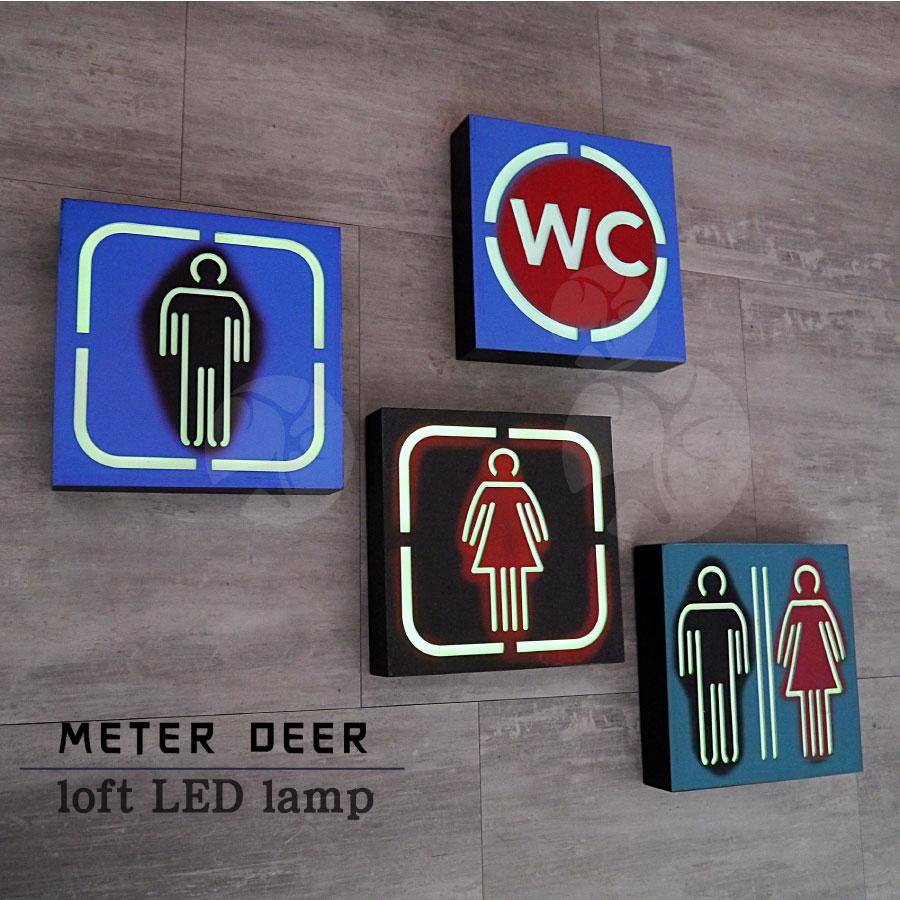 工業風造型招牌 復古美式擺飾廣告標示氣氛燈箱告示牌 男廁/女廁/廁所/WC 牆壁面立體掛飾led霓虹燈指示牌