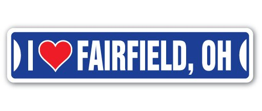 "I Love Fairfield, Ohio Street [3 Pack] of Vinyl Decal Stickers 1.5"" X 7"" Indoor/Outdoor Funny decoration for Laptop, Car, Garage, Bedroom, Offices SignMission"