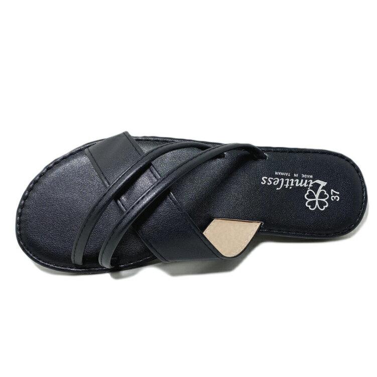 【滿額領券↘折$120】Limitless利米堤司 女款交叉皮質休閒拖鞋 [3139] 黑 MIT台灣製造【巷子屋】