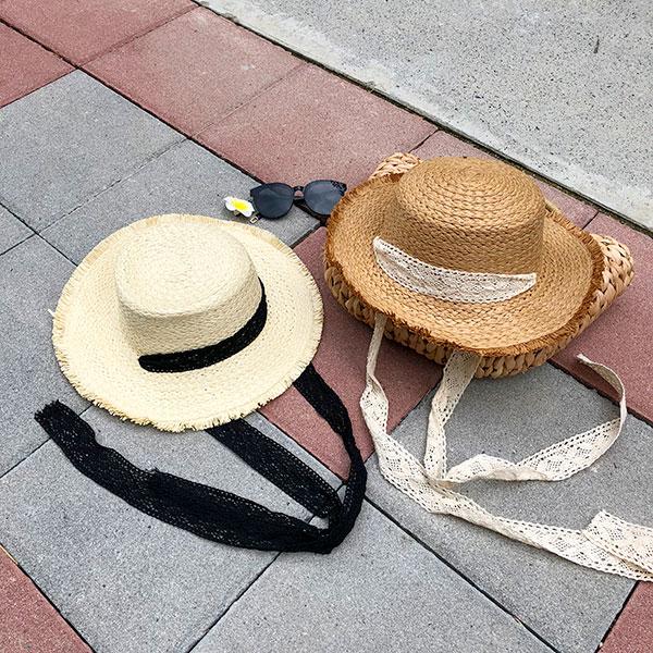 雙色草帽蕾絲緞帶黑白深淺防飛下巴圓頂毛邊刷鬚遮陽帽漁夫帽草編帽拉菲草編織ANNAS.