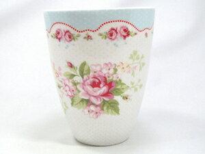 【預購】GreenGate  拿鐵杯   白底藍邊玫瑰花 - 限時優惠好康折扣