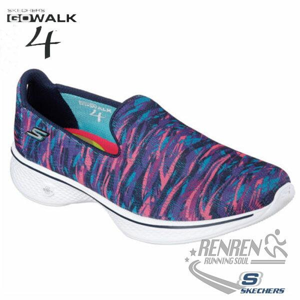 SKECHERS 女健走鞋GO Walk 4 (繽紛粉藍) 懶人鞋 運動鞋