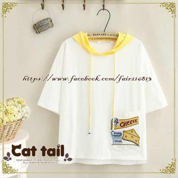 《貓尾巴》TS-0783日系精緻刺繡連帽短袖T恤(森林系日系棉麻文青清新)