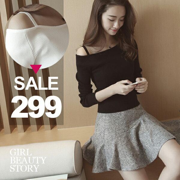SISI【L6060】韓版甜美修身美型純色細肩帶斜肩一字領長袖針織衫上衣