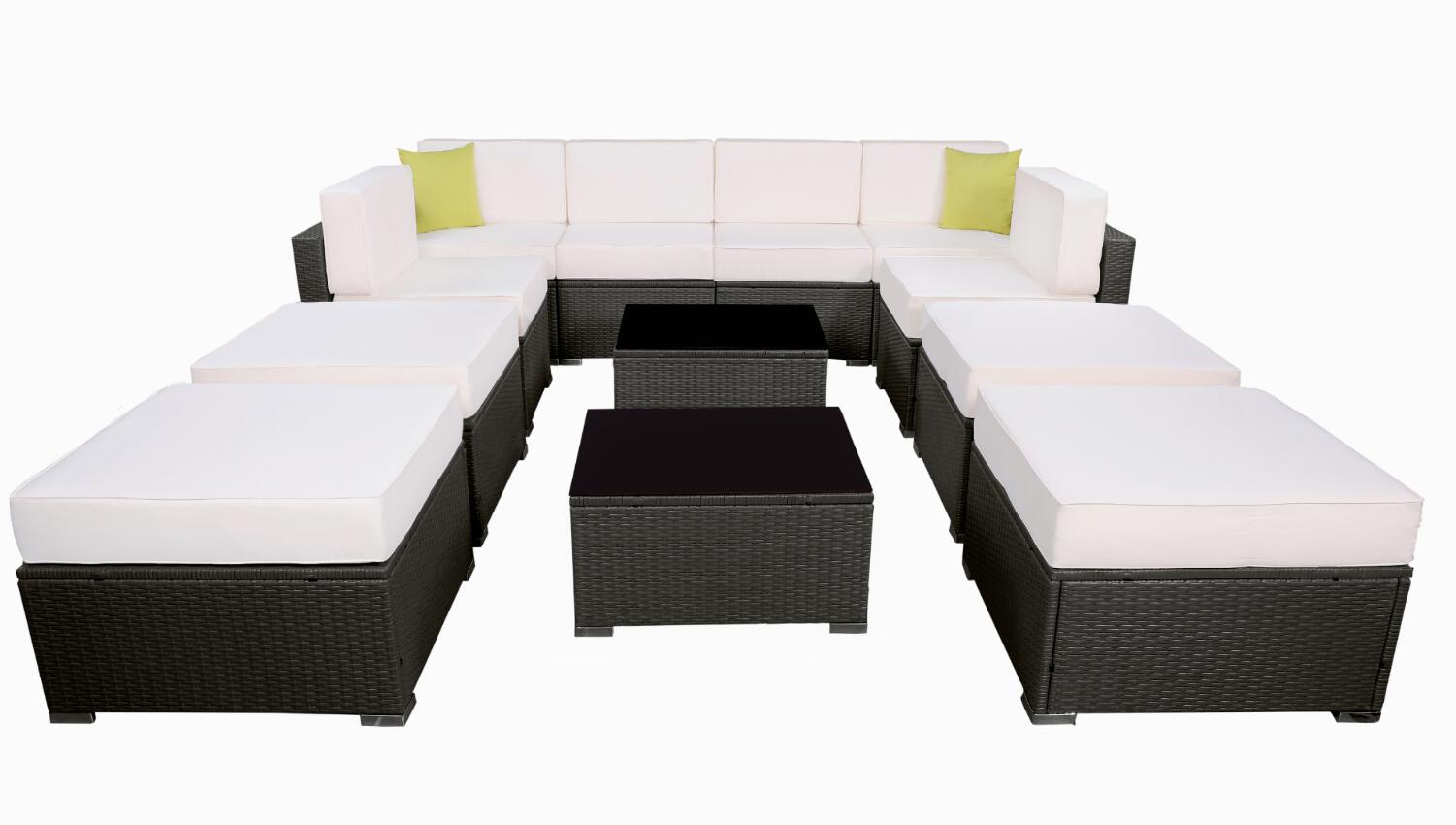 MCombo 6082 12PC Bigger Size Outdoor Furniture Luxury Patio With Black  Wicker And Creme White Cushion
