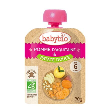 綠動會法國BABYBIO有機蘋果甜薯纖果泥隨行包(90g)【悅兒園婦幼生活館】