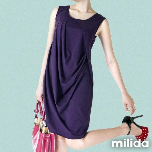 【Milida,全店七折免運】前後U領-立體抓皺剪裁洋裝 4