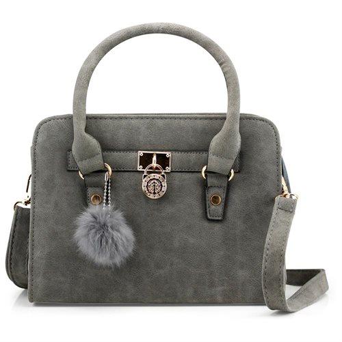 d56b0bea822a Lady Women Lock Faux Leather Tote Hobo Shoulder Bag Purse fur ball Satchel  Fashion Handbag -