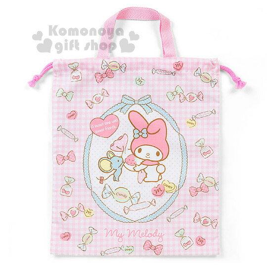 〔小禮堂〕美樂蒂 日製棉質束口提袋《L.粉格紋.老鼠.糖果滿版》