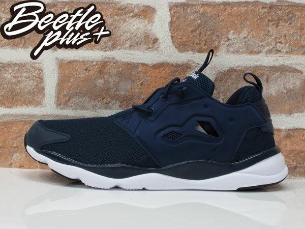 男生 BEETLE PLUS REEBOK FURYLITE 純色 襪套 PUMP 深藍 慢跑鞋 V68765 US10 0